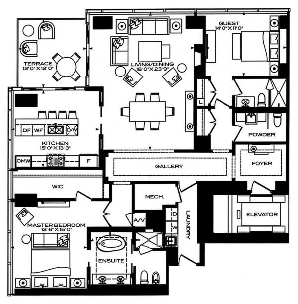 2 bedroom Floor plan 50 yorkville ave four seasons private residence condo