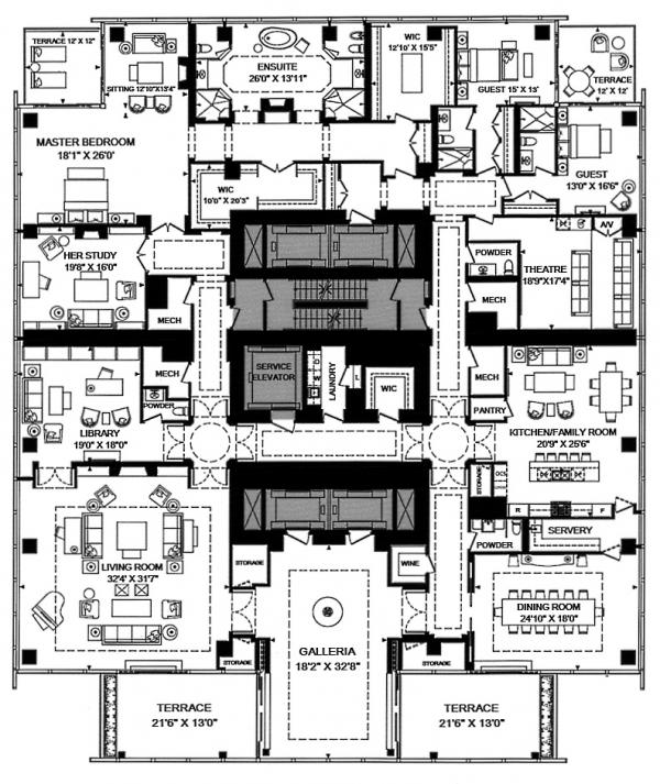 3 bedroom Penthouse suite + library + family room Floor plan 50 yorkville ave four seasons private residence condo